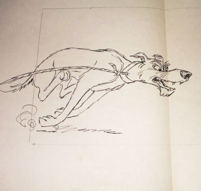Disney Studios - Original Layout Drawing - Chief - The Fox and the Hound (1981)