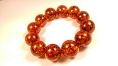 Huge Round beads modified Baltic amber bracelet, hole ca. 60 mm, 51 grams