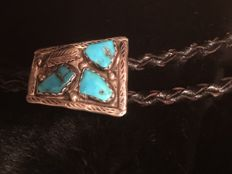 Navajo bolo tie  - silver with turquoise stones