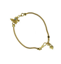 Unique 22 kt gold children's Goofy bracelet - can be worn in multiple lengths