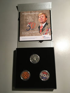 The Netherlands - 10 euro 2017 'Silver birthday coin colour set' beautiful limited set of 750 pieces - 2 different 10 euro coins - silver