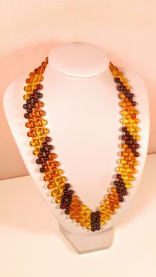 Vintage round mix colours beads  braided Baltic amber necklace, length 43 cm