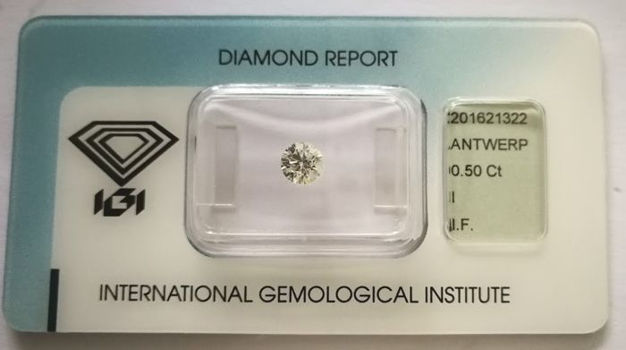 Brilliant cut diamond  0.50 ct  INTERNALLY FLAWLESS & IDEAL CUT with IGI cert ***Low Reserve Price***