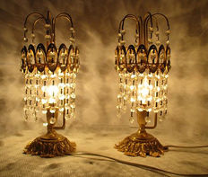 """Two crystal table """"Chandeliers"""" lamps, Portugal, mid 20th century"""