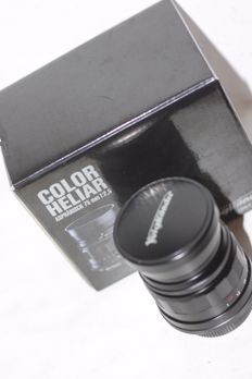 m39  ( leica mount ) voigtlander Color-Heliar 75mm f2.5 MC w/Hood  cap , box