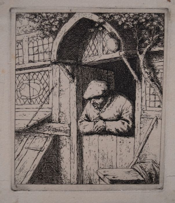 "Adriaen Van Ostade ( 1610-1685) after "" Peasant leaning on his doorway "" circa earlier 18th"