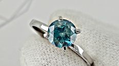 1.10  ct  BLUE round diamond ring made of 14 kt white gold  *** NO RESERVE PRICE ***