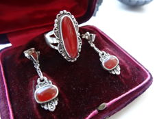 Antique silver ring and dangle earrings with Carnelian and Marcasite.