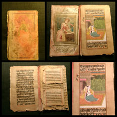 India; Antique document holder with 5 manuscripts and an illuminated painting - 18th century