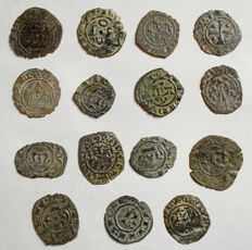 Italian Mints - Lot of 15 Swabian and Aragonese coins from the 12th century