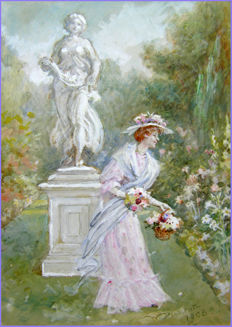 Walter Duncan RWS (1848-1932) - Beauty in the Garden