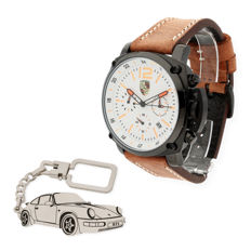 S&S men's watch for Porsche + Sterling silver key ring with a reproduction of the 911 model