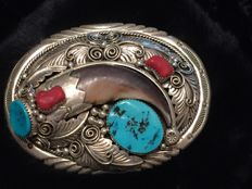 Navajo sterling silver Buckle  85mm x 65mm with Turquoise stones, natural coral  and bear claw
