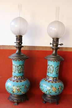 Large pair of porcelain vases / oil lamps with bronze details , signed - Europe ca.1930