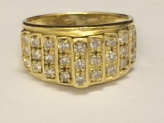 18 kt gold ring with 0.80 ct brilliant cut diamonds - Allessandria - Italy - ring size 19 mm