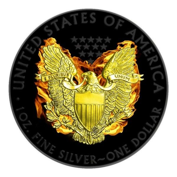 United States – Dollar 2015 'Eagle - Phoenix' with colour ruthenium gold-plated - 1 oz silver