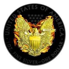 United States - Dollar 2015 'Silber Eagle - Phoenix' black ruthenium + gilded - 1 oz silber