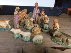 15-piece antique Christmas figurines marked as property of railways, the Netherlands, 1st half of the 20th century