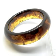 Cognac, honey colour wide bangle bracelet of Baltic Amber, weight 51.2 grams