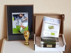 Final WC 2006 Italy - France - original piece of grass in acrylic + hand signed framed photo in passepartout Andrea Pirlo Italy 2006 + mini FIFA WC  + COA