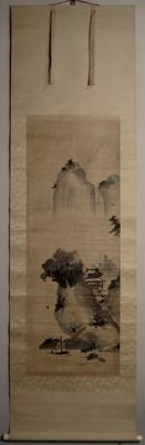 "Scroll painting on silk - 'Ideal Chinese Landscape"" - Sealed 'Kanô' 狩野 and 'Fujiwara' 藤原 - Japan - 17th century"
