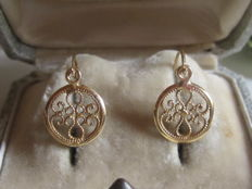 Antique 'stud' style earrings in 18 kt yellow gold, with central filigree pattern - Weight: 1.52 g.