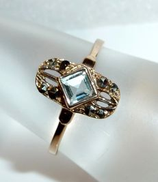 Art Deco ring in 14 kt / 585 gold with 0.50 ct natural aquamarine, ring size 59 / 18.8 mm **no reserve**
