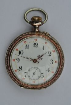 Silver men's pocket watch, 1900.
