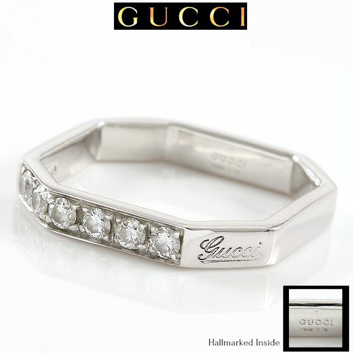 Gucci 18K White Gold 0.25ct Diamonds Octagon  Ring - size 4.5