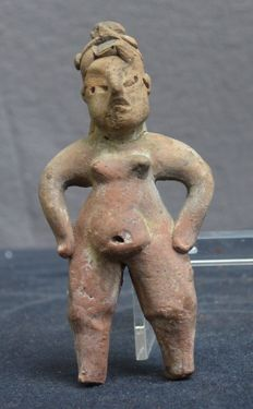 Pre-Columbian pottery statue/idol of a woman Olmec culture - 13,4 cm Olmeken