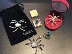 5 brooches: Art Deco bugs and gem set spider brooches