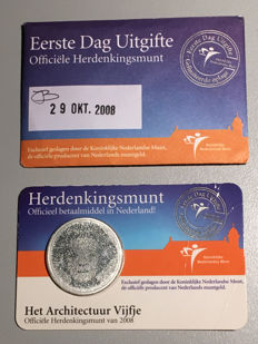 "The Netherlands – 5 Euros 2008 ""Architecture Five"" in 1st day coin card"