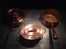 Set of a pan copper for caramel and others pan copper