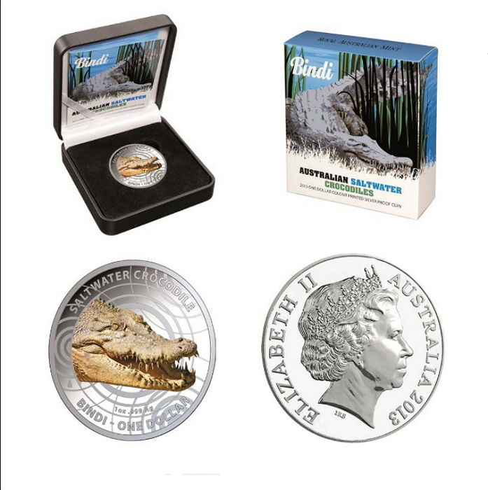Australia - 1 AUD - salt water crocodile Bindi 2013 - colour edition - polished plate - with box & certificate - edition only 5000 pieces