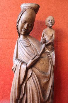 African religious Madonna with child, large carved wood - ca.1940