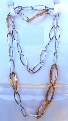 Stunning necklace in 18 kt (750/1000) white and yellow gold - Length: 90 cm