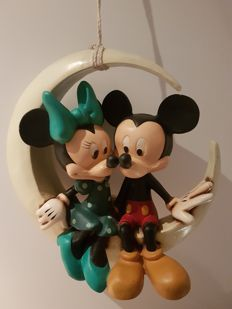 Disney, Walt - Statue - Mickey and Minnie Mouse in the moon - (1970's-1980's)