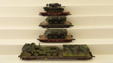 Roco Minitanks H0 - 789/803/913 - Four flat cars loaded with military vehicles Bundeswehr of the DB