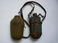 Austro Hungarian WW I military flask with leather hanger. 1916