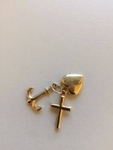 14 kt gold pendant, Faith Hope Love.