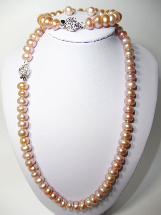 Freshwater Pearl Necklace Bracelet Earrings Set 925 Silver 8