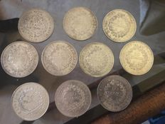 France - 50 Francs 1978 (lot of 10 coins) - silver