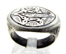 Medieval Viking Period Silver Ring with Interlaced Symbols & Niello Inlay - WEARABLE GIFT - 17mm