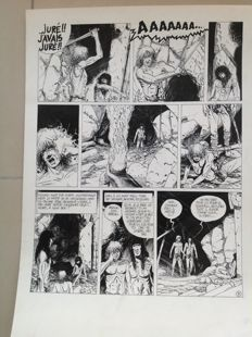 "Cayman, Thierry - Original comic page - Sylvain de Rochefort - ""L'eau et le sang"" (Water and blood) - (1989)"