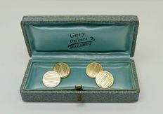 """Art Deco """"stamped & made Murat"""" 18kt gold plated cuff links, no reserve"""