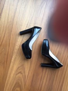 Prada high heel block pumps black