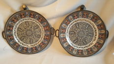 James Dixon Sheffield; two antique porcelain and pewter hot water plates; Sheffield England 1800s - with beautiful Paisley decor