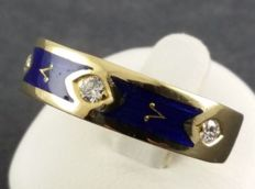 FABERGÉ brilliant ring - 750 yellow gold, enamelled - 3 x diamond, IF, G - box + certificate