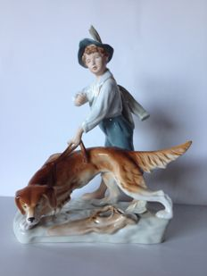 Royal Dux shepherd figurine with dog