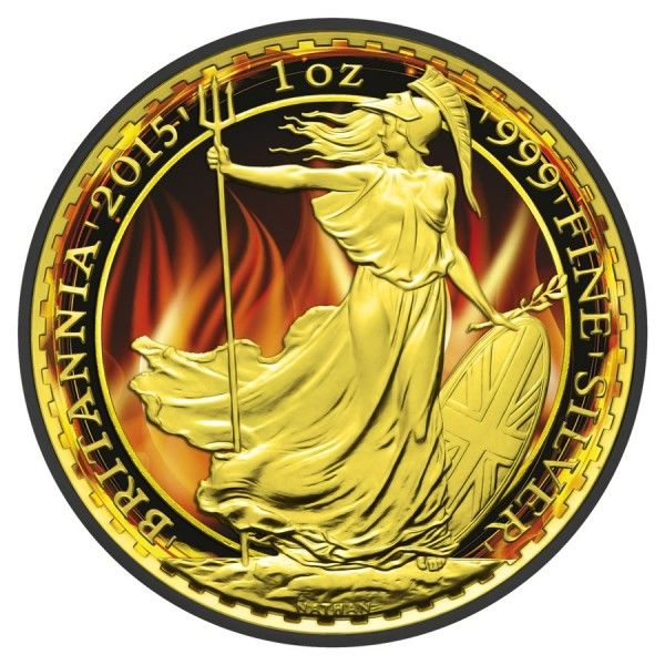 Great Britain - 2 Pounds 2015 'Britannia - Burning' Ruthenium/Colour/Gold-plated - 1 oz silver